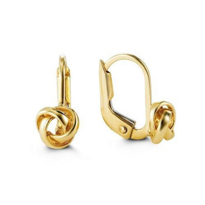 10 YG KNOTTED LEVERBACK EARRINGS