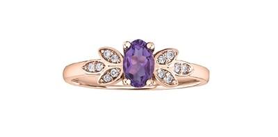 10K RG AMETHYST/ DIAMOND RING