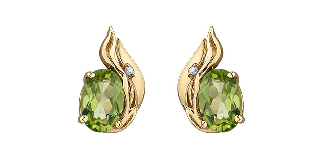 10K YG PERIDOT/DIAMOND EARRINGS