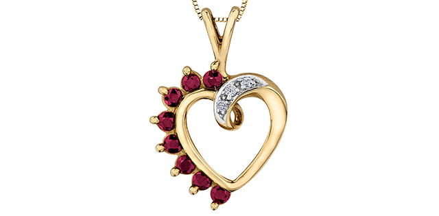 10K YG RUBY AND DIAMOND HEART PENDANT