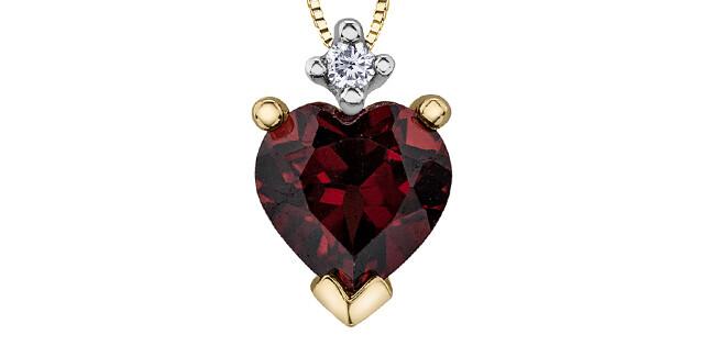 10K YG HEART SHAPE GARNET & DIAMOND PENDANT