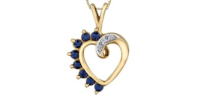 10K YG SAPPHIRE & DIAMOND HEART PENDANT