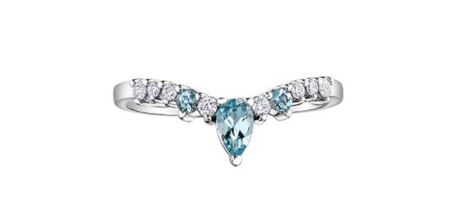 10K WG AQUAMARINE/DIAMOND RING
