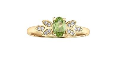 10K YG PERIDOT /DIAMOND RING