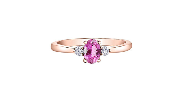 14K RG PINK SAPPHIRE & CAN DIA RING