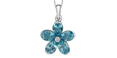 10K WG BLUE TOPAZ FLOWER DIAMOND PENDANT