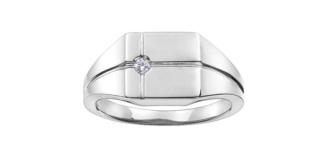 10KT WG MENS CANADIAN DIAMOND SIGNET RING