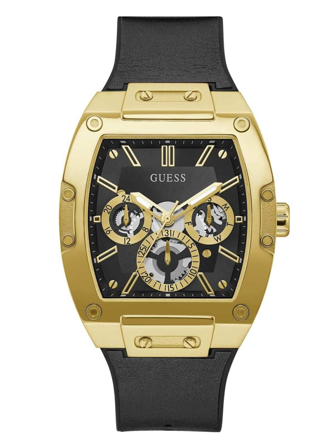 GUESS SQUARE GOLD/BLK TONE GNTS WATCH