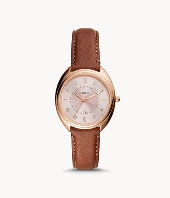FOSSIL LDS WATCH W/CRY & BROWN STRAP