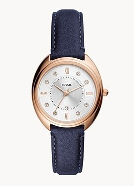 FOSSIL LDS WATCH 2/TONE & BLUE LEATHER STRAP