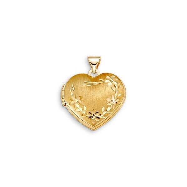 SHINY 10KT Y/G HEART LOCKET