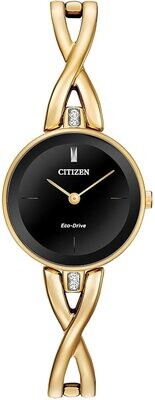 CITIZEN LDS.ECO DR.GOLD/BLACK DIAL W/CRYSTAL