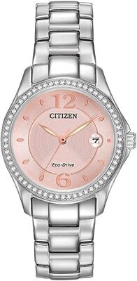 CITIZEN LDS.ECO DRIVE PINK DIAL W/CRYSTAL BEZEL