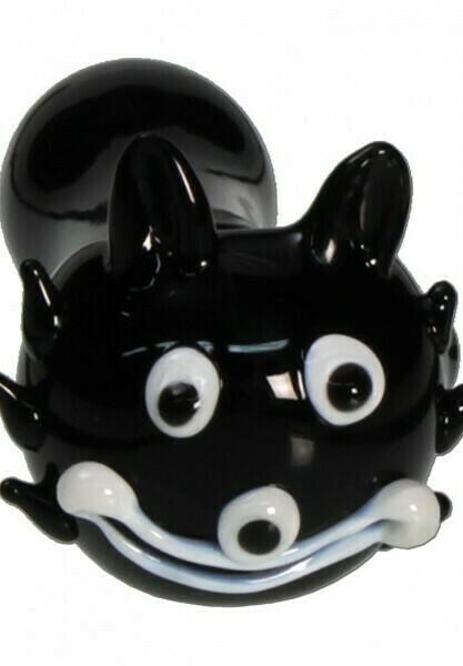Handpfeife Glas Katze schwarz-weiß