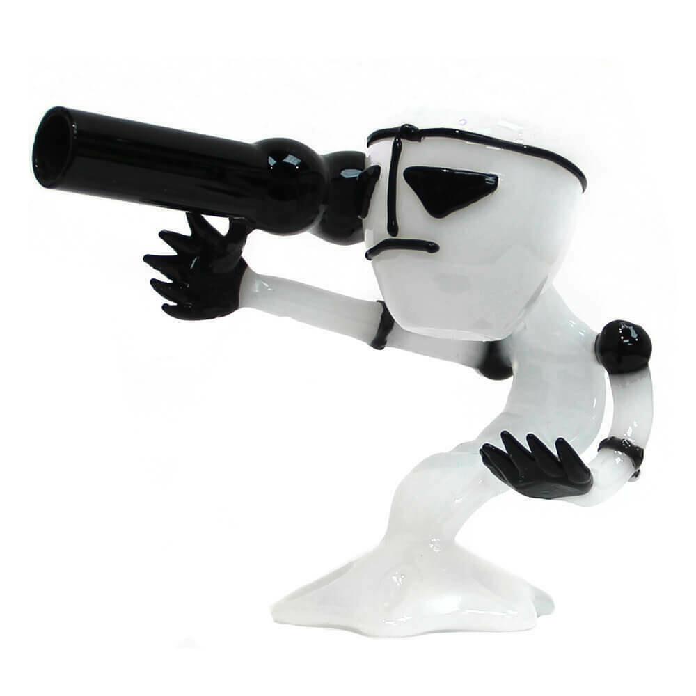 White Bazooka Alien Glass Bong 15cm