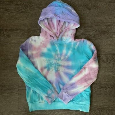 Tie dye and rhinestone popover hoodie - Girls