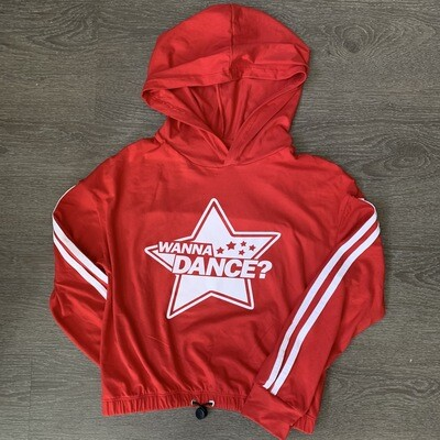 Red hooded long sleeve with drawstring waist - Girls