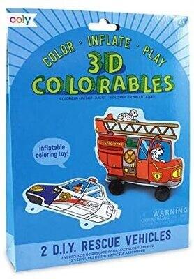 3D Colorables Rescue Vehicles