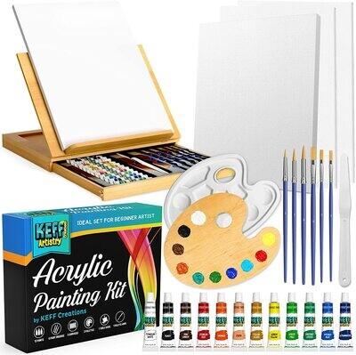 Keff Acrylic Paint Bundle with Easel