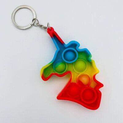Dirty Bee Rainbow Unicorn Keychain Pop It