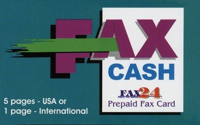 5 pages USA or 1 International  Fax Cash Card