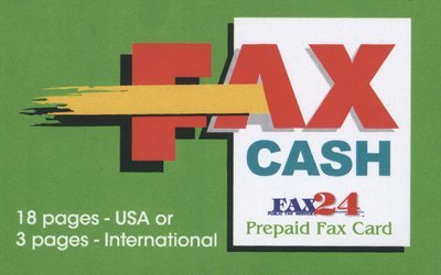 18 pages USA or 3 International Fax Cash Card