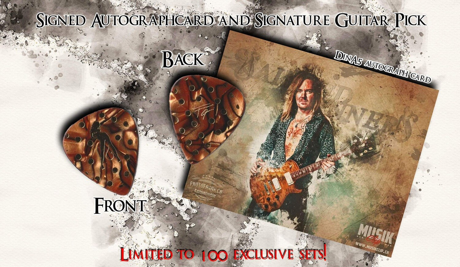 FP Sainted Sinners signature guitar pick + DIN A5 autograph card +++ limited edition +++ 100 only!!!