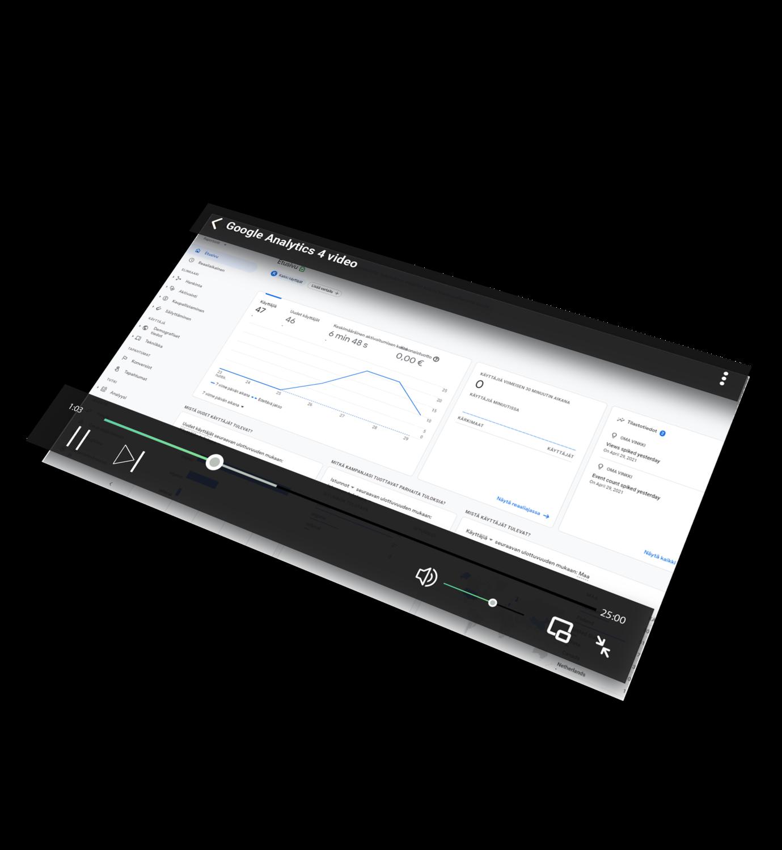 Ennakkotilaa - Google Analytics 4 video: Opi kehittymään analytiikan avulla