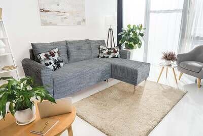 A functional and stylish Corner Sofa Bed Wood Legs - ITAKA