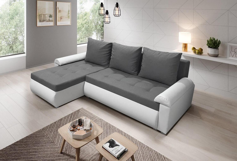 Beautiful Savanna Fabric with White Eco Leather Corner Sofa Bed LORETO (White)