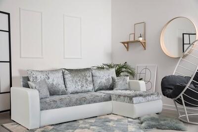 Corner Sofa Bed in luxurious velvet like fabric - VELVET