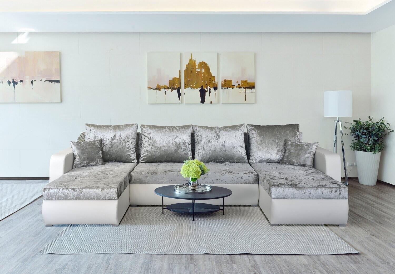 Corner Sofa Bed in luxurious velvet like fabric - VELVET - USHAPE