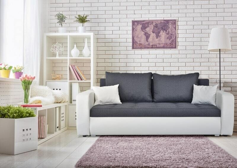 2 seater white and grey sofa bed ROXI 2