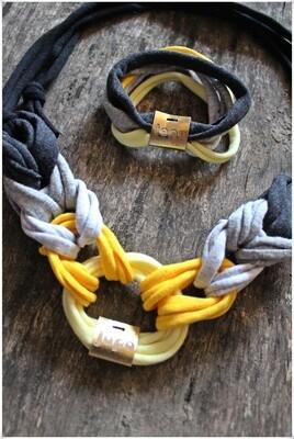 Yellow/Grey textil karika lánc szett