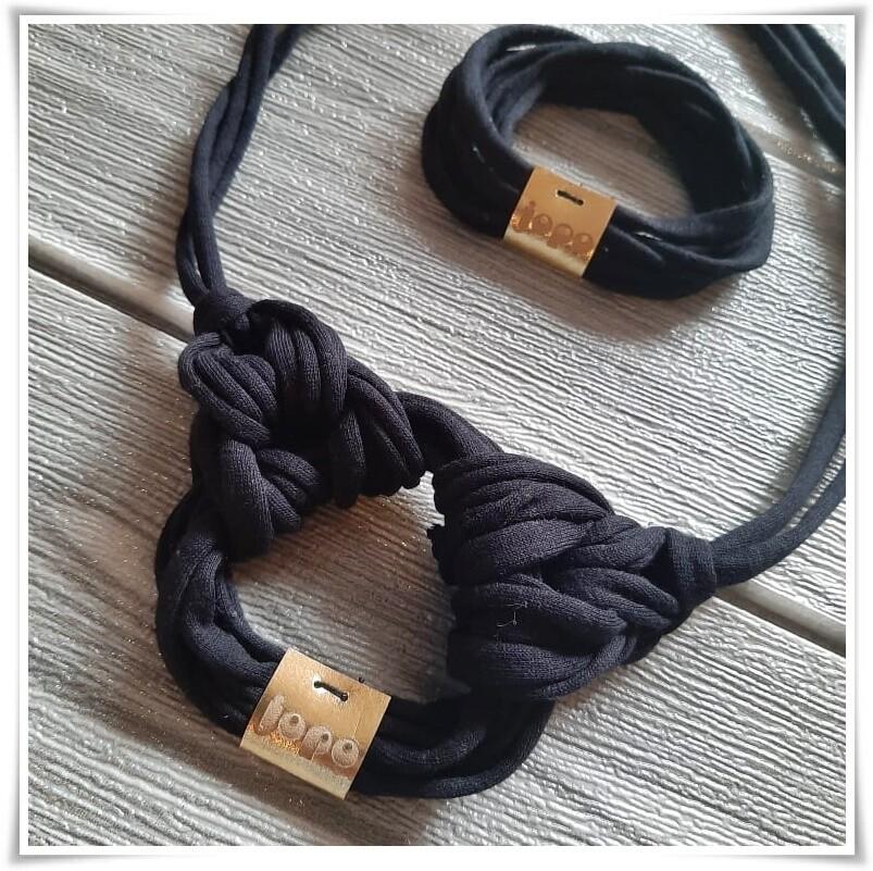 Fekete textil karikalánc szett