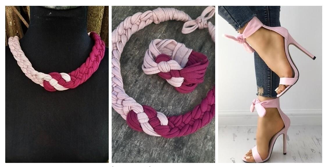 Póder/Lila textil ékszer szett