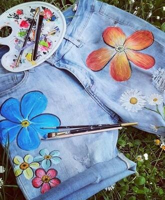 Kézzel festett jeans short