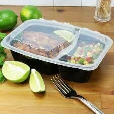 2 Compartment Rectangle Take Out Container With Lids -150 pc Set