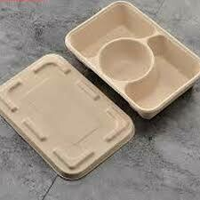 Bagasse 3- Compartment Takeout Container with lids (300pc Set)