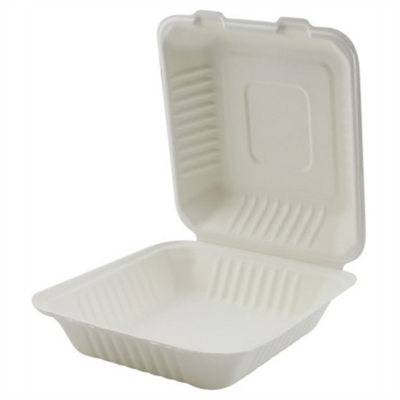 """Bagasse Clamshell Container - 9x9x3"""" - 1 Comp"""