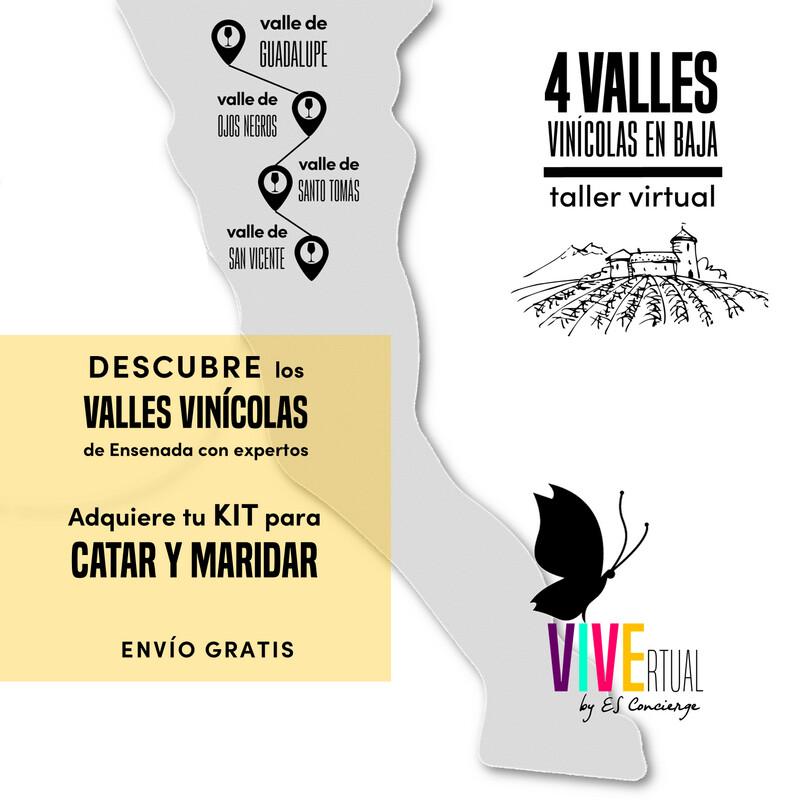 TALLER ENOCULTURAL: 4 VALLES    CATA + MARIDAJE     2 a 4 personas    1 valle por mes