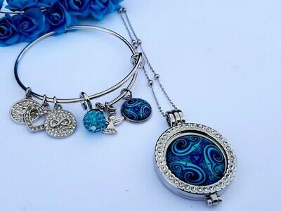 Celtic Spiral Blue Coin Locket and Bangle Set