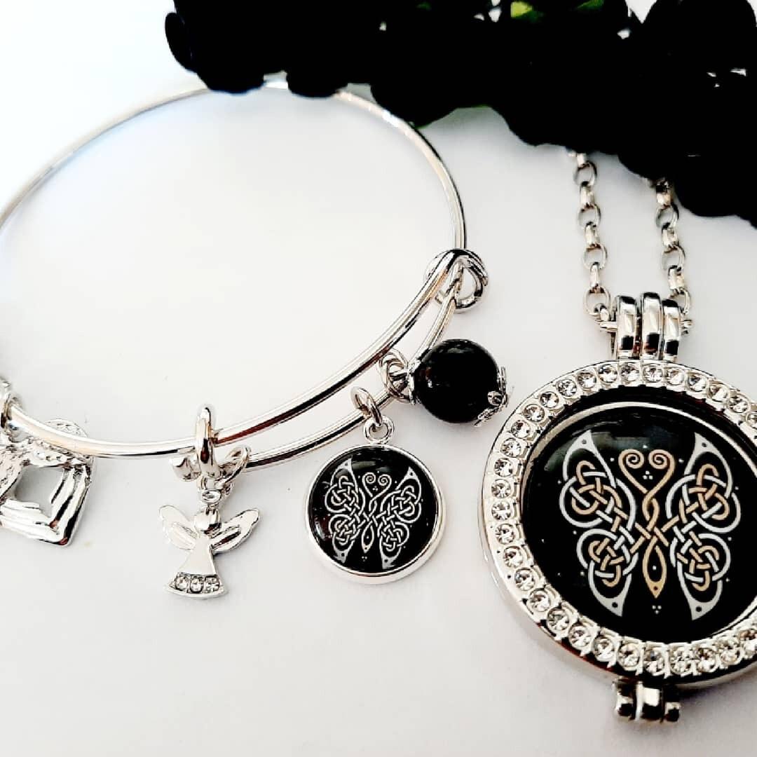 Celtic Butterfly Coin Locket and Bangle