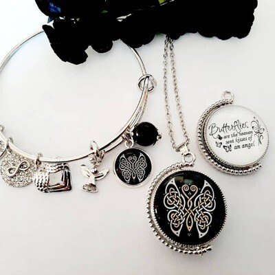 Celtic Butterfly Rotation Pendant and Bangle Set
