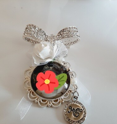 """""""Missed"""" - Bow Crystal  Bouquet Pin"""