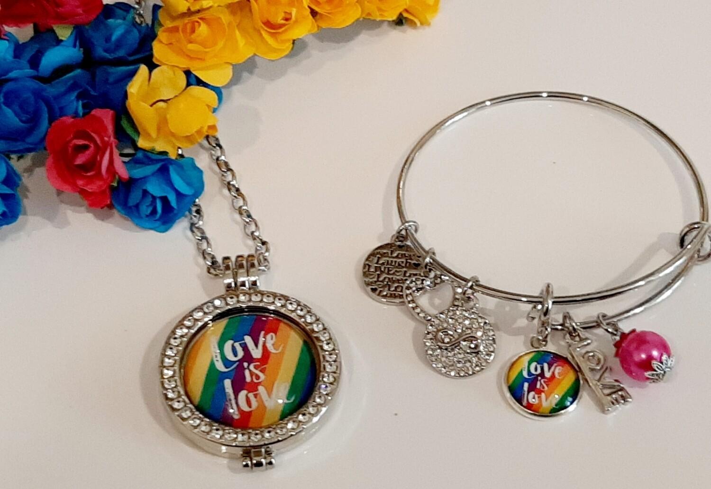 Pride Coin Locket and Bangle Set