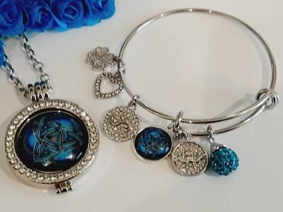 Celtic Spiral Dark Blue Coin Locket and Bangle Set