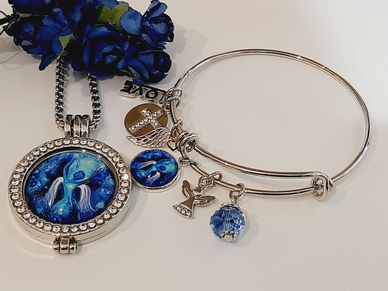 Blue Angel Coin Locket and Bangle Set