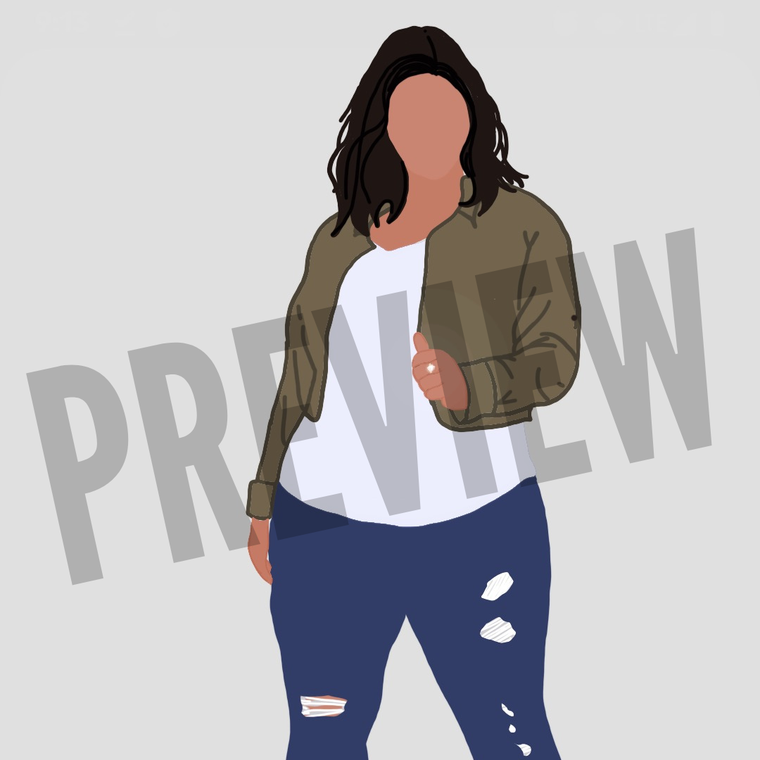 Flat Icon - Girl in Ripped Jeans, White  Shirt, and Jacket