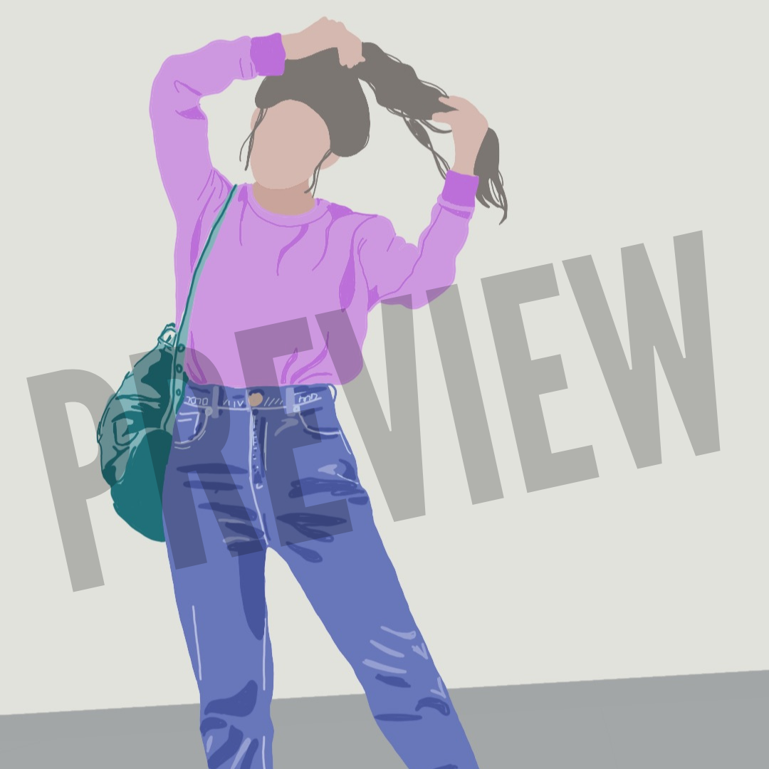 Flat Icon - Girl in Jeans and Purple Sweater